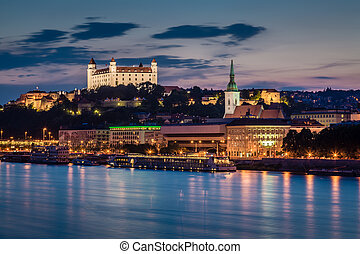 Evening view of Bratislava, Slovakia. - Evening view of...