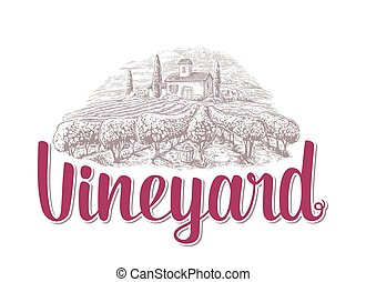 Rural landscape with villa, vineyard fields and hills. Black and white drawn vintage vector illustration for label, poster