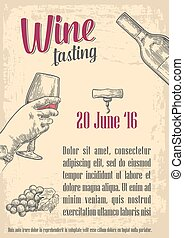 Wine tasting. poster, invitation to party, web, banner. Old...