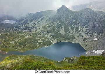 The Twin lake, Rila Mountain - Clouds over The Twin lake,...