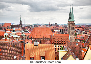 Old Town in Nuremberg - Panoramic view of Old Town in...