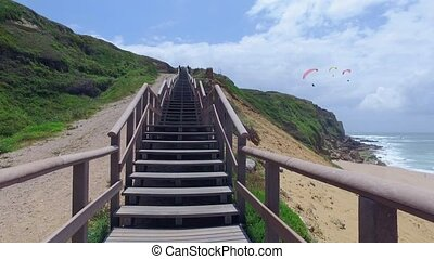 Climb Up via Wooden Stairs with Railing, sunny day