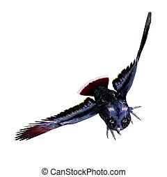 fantasy owl in dark blue colors. 3D rendering with clipping...
