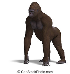 gorilla on all fours 3D rendering with clipping path and...