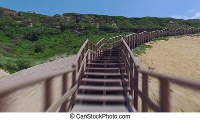 Climb Up via Wooden Stairs with Railing, timelapse