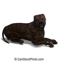 American Mastiff Dog. 3D rendering with clipping path and...