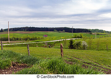 rural fields landscape St-Alban, Quebec Canada