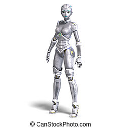female sexy metallic robot 3D rendering with clipping path...