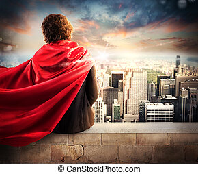 Businessman superhero - Man with cloak view from above the...