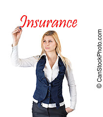 Business woman writing the word insurance
