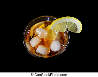 Long Island cocktail. Isolated on a black background