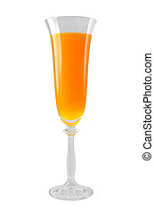 Mimosa cocktail in a glass. Design element isolated on white...