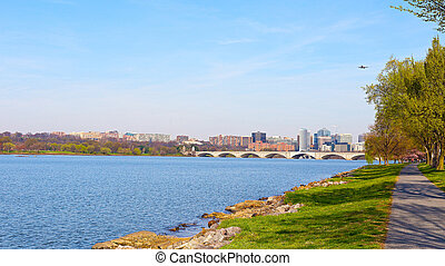 Key bridge over Potomac River - Panoramic view of office...