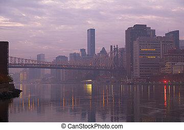 The foggy Manhattan at sunrise
