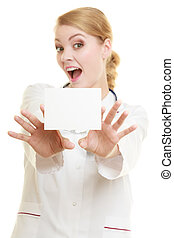 Doctor woman holding blank copy space card