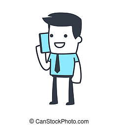 Funny Character Businessman Line art style - Funny Character...