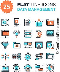 Data Management Icons - Abstract vector collection of flat...
