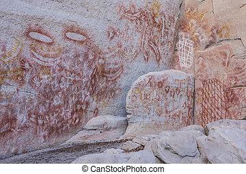 Aboriginal rock art at Carnarvon Gorge, Queensland,...