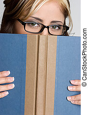 Book Woman - Book reading woman wearing glasses