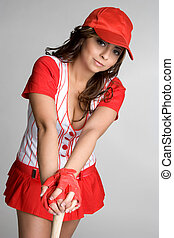 Baseball Girl - Pretty girl wearing baseball uniform