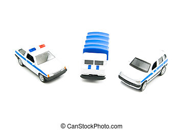 different police cars on white background closeup