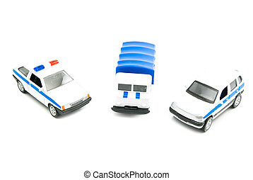 different police cars closeup on white background