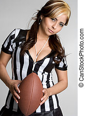 Female Football Referee - Pretty hispanic female football...