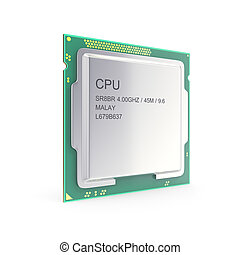 Central processor unit, CPU isolated on white 3d...
