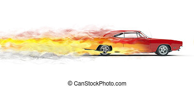 Red vintage muscle car smoke trails effect