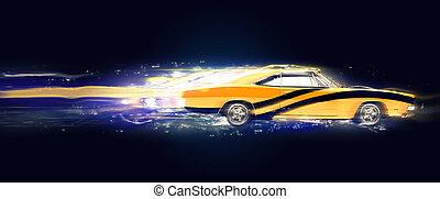 Vintage muscle car with black stripes - 3D Illustration