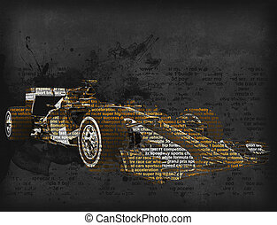 Formula one car - word cloud illustration - Formula one car...