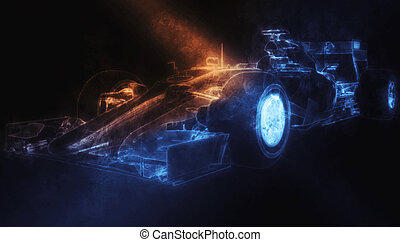Formula One Car - Smoke Illustration - Formula One Car -...