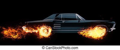 Classic American muscle car wheels on fire - 3D Illustration