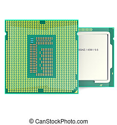 Modern multicore CPU isolated on white background 3d...