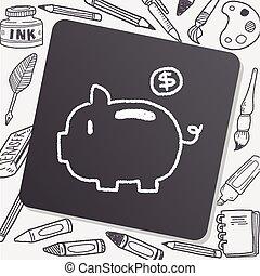 Piggybank doodle drawing