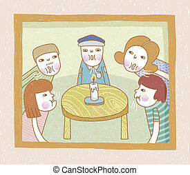 People blowing candle at the same time. Lovely illustration...