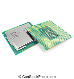 Group modern central computer processors CPU isolated on...