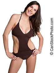 Bathing Suit Woman - Beautiful isolated woman wearing...