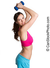 Woman Lifting Weights - Healthy fitness woman lifting...