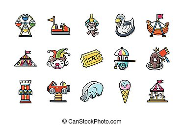Amusement park icons set,eps10