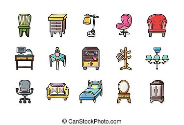 Home furniture icons set,eps10