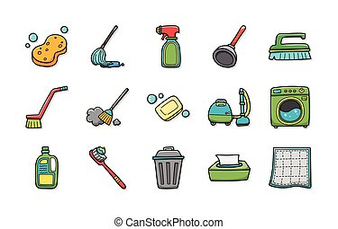 Cleaning tools icons set,eps10