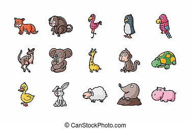 Funny animals icons set,eps10
