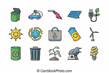 Ecology and recycle icons set,