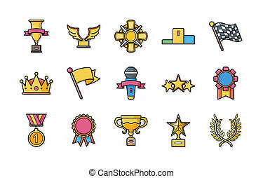 Awards and trophy icons set