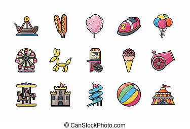 divertimento, parque, ícones, set, eps10,