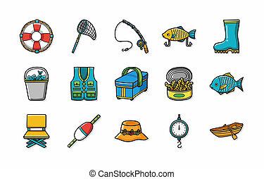 Fishing icons set,eps10