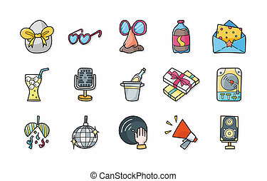 Party and Celebration icons set,eps10