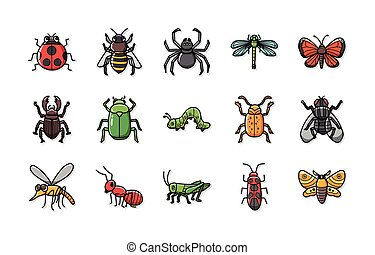 Insects and bugs icons set,eps10