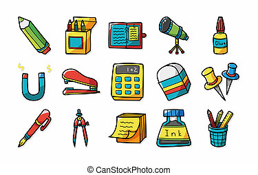 Stationery and drawing icons set,eps10